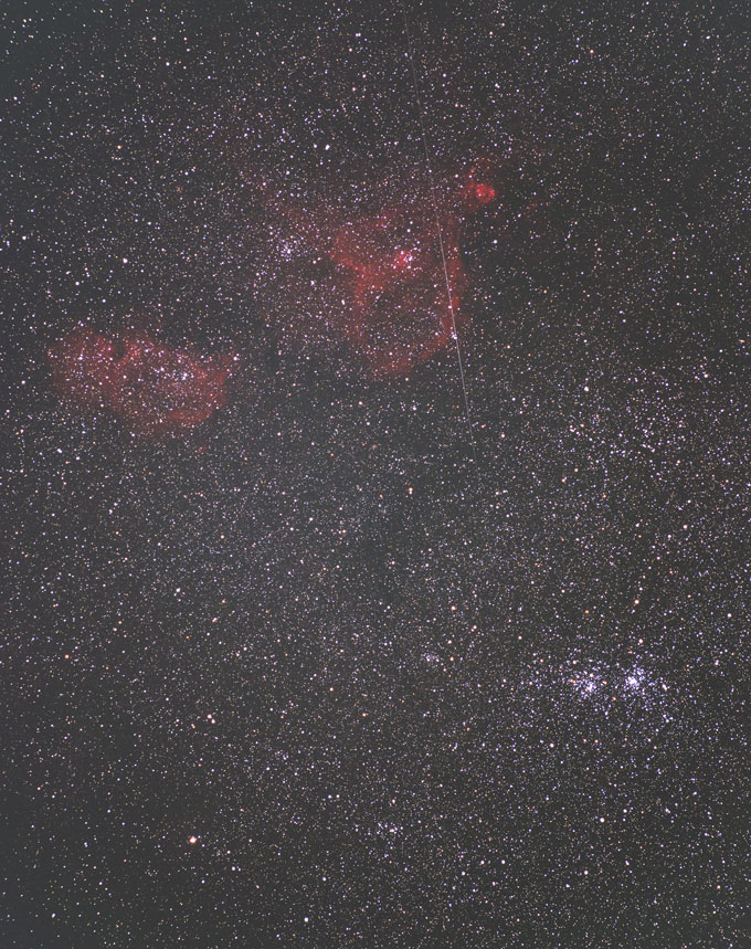 Double Cluster and Meteor